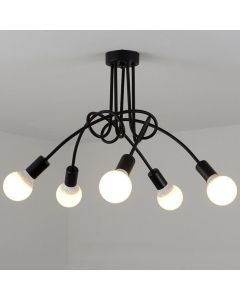Lampa sufitowa NODUM SKRĘT czarny do LED 5x E27 LUMILED