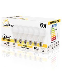 Zestaw 6x Żarówka LED E27 15W = 150W 1521lm A65 3000K LUMILED