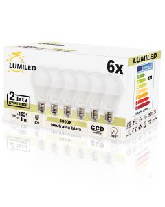 Zestaw 6x Żarówka LED E27 15W = 150W 2000lm A65 4000K LUMILED