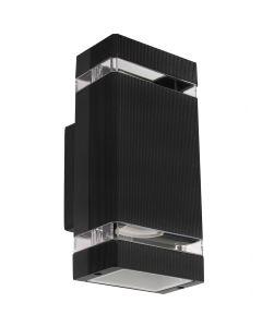 Lampa Ogrodowa Kinkiet Elewacyjny Dwustronny Czarny 2xGU10 IP54 Aluminiowy