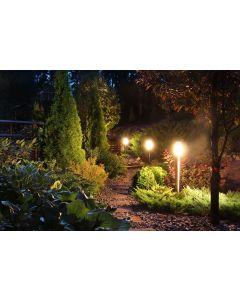Lampa Ogrodowa Zewnętrzna E27 CZARNY SŁUPEK 45cm z Czujnikiem Ruchu i Zmierzchu