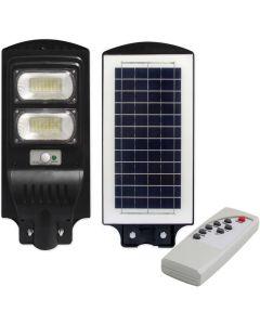 Lampa LED solarna uliczna czarna 100W 6000K zimna IP65 czujnik ruchu i zmierzchu + pilot