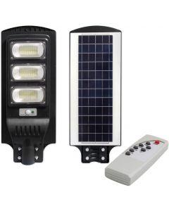 Lampa LED solarna uliczna czarna 150W 6000K zimna IP65 czujnik ruchu i zmierzchu + pilot