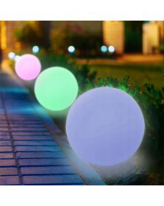 Lampa Ogrodowa LED Solarna Wbijana Kula RGB 30 cm