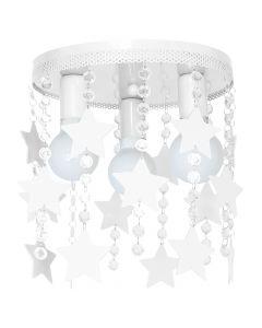 Lampa dziecięca sufitowa biała Żyrandol dla dzieci Gwiazdki STAR 3x E27 Metal i kryształki Milagro