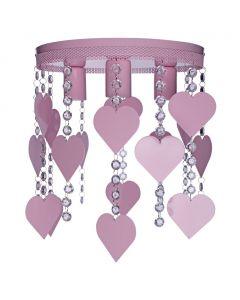 Lampa dziecięca sufitowa fioletowa Żyrandol Serduszka CORAZON 3x E27 Metal i kryształki Milagro