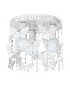 Lampa dziecięca sufitowa biała Żyrandol ANGELICA Motyle 3x E27 Metal i kryształki Milagro
