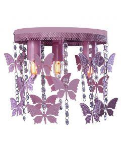 Lampa dziecięca sufitowa fioletowa Żyrandol ANGELICA Motyle 3x E27 Metal i kryształki Milagro