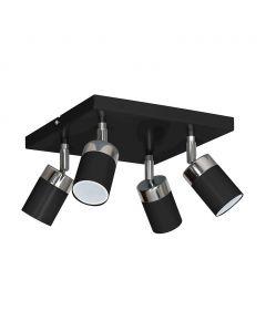 Lampa sufitowa JOKER czarny 4xGU10 MILAGRO Metal kwadrat styl nowoczesny