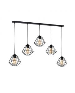 Lampa wisząca COLIN Czarny 5x E27 MILAGRO styl loft industrial metal