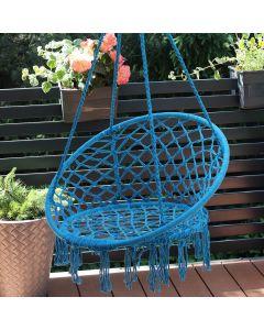 Fotel Wiszący Huśtawka Hamak Ogrodowy Jednoosobowy Niebieska