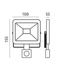 Naświetlacz LED HALOGEN MHC 10W 4000K 800lm Czarny LED2B KOBI Czujnik ruchu