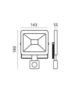 Naświetlacz LED HALOGEN MHC 20W 3000K 1600lm Biały LED2B KOBI Czujnik ruchu