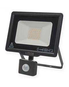 Naświetlacz LED HALOGEN MHC 30W 6000K 2400lm Czarny LED2B KOBI Czujnik ruchu