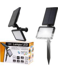 Naświetlacz Solarny LED WBIJANY Reflektor 3W 5500-6000K Zimna IP54 Czarny Masterled Czujnik Ruchu
