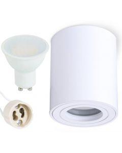 Oprawa do nabudowania GU10 AQUARIUS ROUND wodoodporna Biała + LED 6W Ciepła