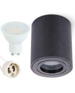 Oprawa do nabudowania GU10 AQUARIUS ROUND wodoodporna Czarna + LED 6W Ciepła