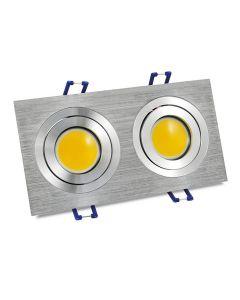 Oprawa sufitowa LED aluminiowa podwójna srebrna szczotkowana POLUX 8W 6400K