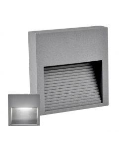 Lampa oprawa schodowa natynkowa LED ogrodowa 3W 60lm IP44 4000K szara kwadrat Q9 Polux