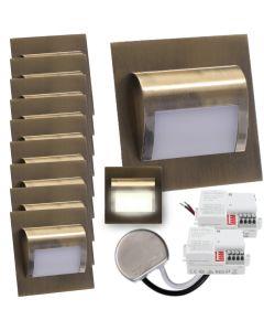 Zestaw 10x Oprawa schodowa LED 1,2W Neutralna Mosiądz Decorus + Zasilacz 15W + 2x Czujnik ruchu