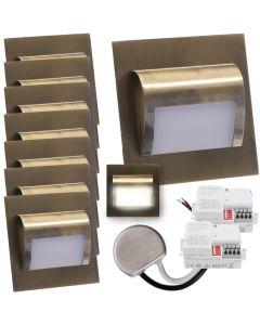 Zestaw 8x Oprawa schodowa LED 1,2W Neutralna Mosiądz Decorus + Zasilacz 15W + 2x Czujnik ruchu