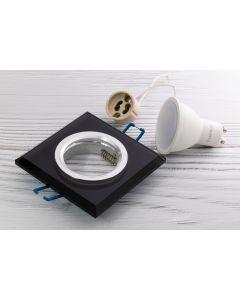 Zestaw 3x IDEA oprawa halogenowa SZKLANA czarna kwadrat + LED 6W Ciepła GU10