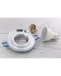 Zestaw 6x oprawa halogenowa szklana okrągła przezroczysta + LED 6W Ciepła GU10