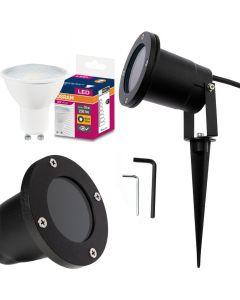 Zestaw Lampa Ogrodowa LED DIEGO IP65 WODOODPORNA + PRZEWÓD + LED GU10 3,2W