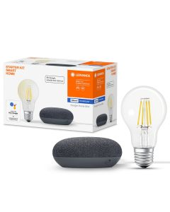 Żarówka LED E27 7W CCT A60 FILAMENT SMART+ Bluetooth LEDVANCE + Głośnik Google Home Mini Czarny