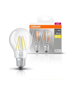 6PAK Żarówka LED E27 A60 4W = 40W 470lm 2700K Ciepła 300° Filament OSRAM Classic