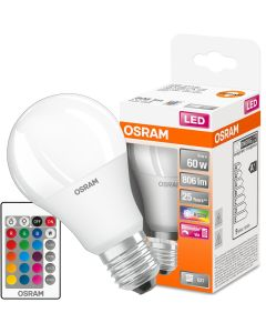 Żarówka LED A60 E27 9W = 60W 806lm OSRAM STAR RGBW + PILOT