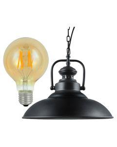 Lampa Wisząca Sufitowa RETRO ICELAND Czarna + Żarówka LED E27 4W POLUX