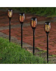Zestaw 4x Lampa SZPIKULEC PŁOMIEŃ ogrodowa LED solarna wbijana efekt płomienia 40cm