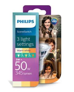 Żarówka LED HALOGEN GU10 5W 3,5W 1.5W 50W 345lm PHILIPS 3in1 SceneSwitch