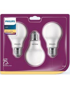 3PAK Żarówka LED E27 A60 10,5W = 75W 1055lm 2700K Ciepła 200° PHILIPS
