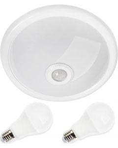 Zestaw Oprawa sufitowa Plafon 30cm ABILA biały + czujnik ruchu i zmierzchu + 2x 10W E27 LED 4000K