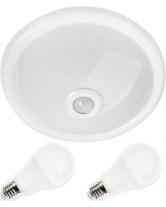 Zestaw Oprawa sufitowa Plafon 30cm ABILA biały + czujnik ruchu i zmierzchu + 2x 10W E27 LED 6000K
