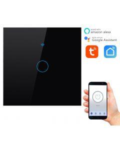 Pojedynczy włącznik dotykowy ON / OFF WiFi + RF433 Tuya 1CC SMART Czarny