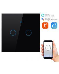 Podwójny włącznik dotykowy ON / OFF WiFi + RF433 Tuya 2CC SMART Czarny