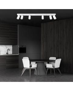 Kinkiet Lampa Sufitowa 6xGU10 SPOT Belka QUALIS VI Biały + Pierścień Czarny