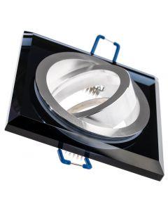 Zestaw Oprawa SZKLANA halogenowa ARIAN kwadrat ruchoma czarna + GU10 LED 6W 6000K