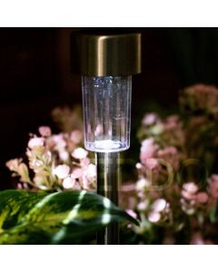 Lampa Ogrodowa LED Solarna Wbijana satyna inox PIN Polux