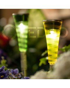 Lampa ogrodowa LED solarna BALANCE wbijana przezroczysta niebieska żółta fioletowa zielona Polux
