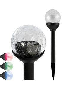 Lampa Ogrodowa LED Solarna Wbijana KULA RGB szklana 6 cm Polux