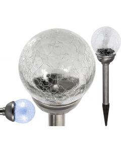 Lampa ogrodowa LED solarna KULA XXL LED wbijana SZKLANA 6500K zimna biała Polux