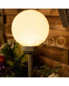 Lampa ogrodowa LED solarna BIAŁA KULA 20cm wbijana 3500K ciepła + RGB Polux