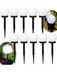 Zestaw 10x Lampa Ogrodowa LED Solarna Wbijana BIAŁA KULA 10cm Polux