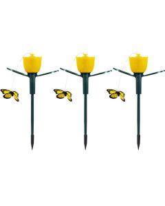 Zestaw 3x Lampa ogrodowa LED solarna wbijana 6500K zimna TULIPAN ŻÓŁTY LED + LATAJĄCY MOTYLEK POLUX