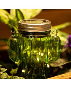 Zestaw 2x Lampa Ogrodowa LED Solarna Wisząca LATARENKA SŁOIK KAKTUS szklany zielony Polux