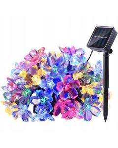GIRLANDA SOLARNA ogrodowa OZDOBNA 50 kolorowych kwiatków multikolor